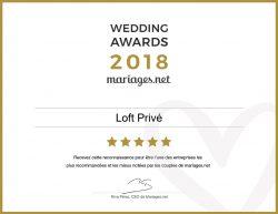 Wedding award pour le Loft Privé